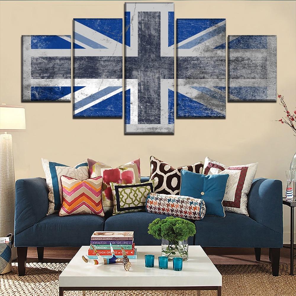 Cuadro con marco Modular de lienzo para pared, Cuadros decorativos con bandera de Inglaterra de 5 piezas para sala de estar moderna, póster de impresiones de alta definición