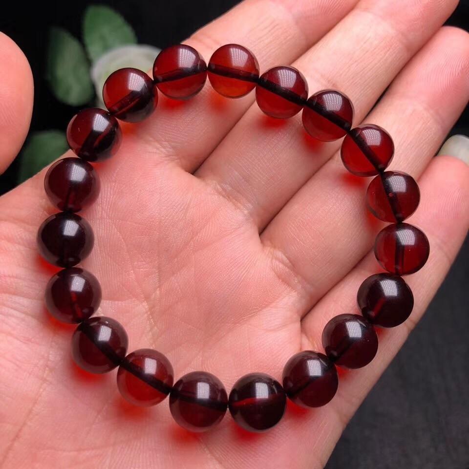 10mm Genuine Natural sangre ámbar pulsera mujeres fiesta regalo Stretch Crystal Fitness Stretch perlas redondas pulsera de moda joyería