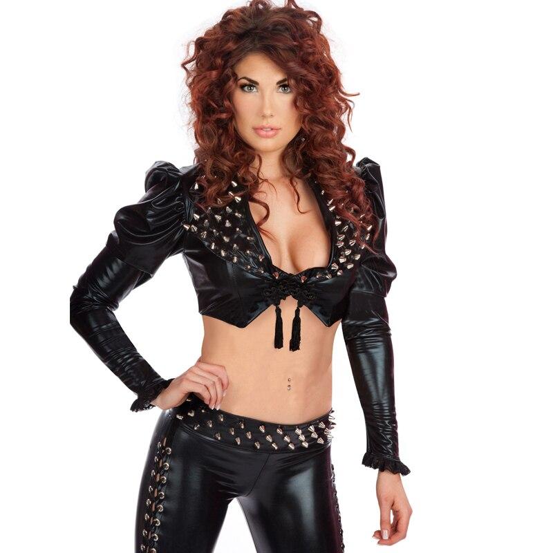 Wonder beauty moda Steampunk remache traje de vinilo negro gótico de manga larga Crop Top pantalones largos Sexy remache club nocturno traje
