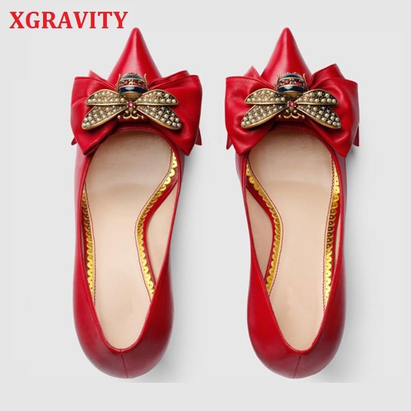XGRAVITY zapatos de tacón Delgado Sexy Diseño Popular abeja diseñador encantadora mujer nupcial vestido zapatos Sexy chica señora punta zapatos A130