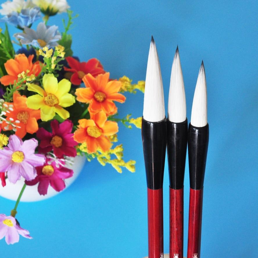 3 unids/set pincel de dibujo de pelo de comadreja de caligrafía china con pluma cortina pincel de con depósito de agua para acuarela pluma de arte suministros estacionarios