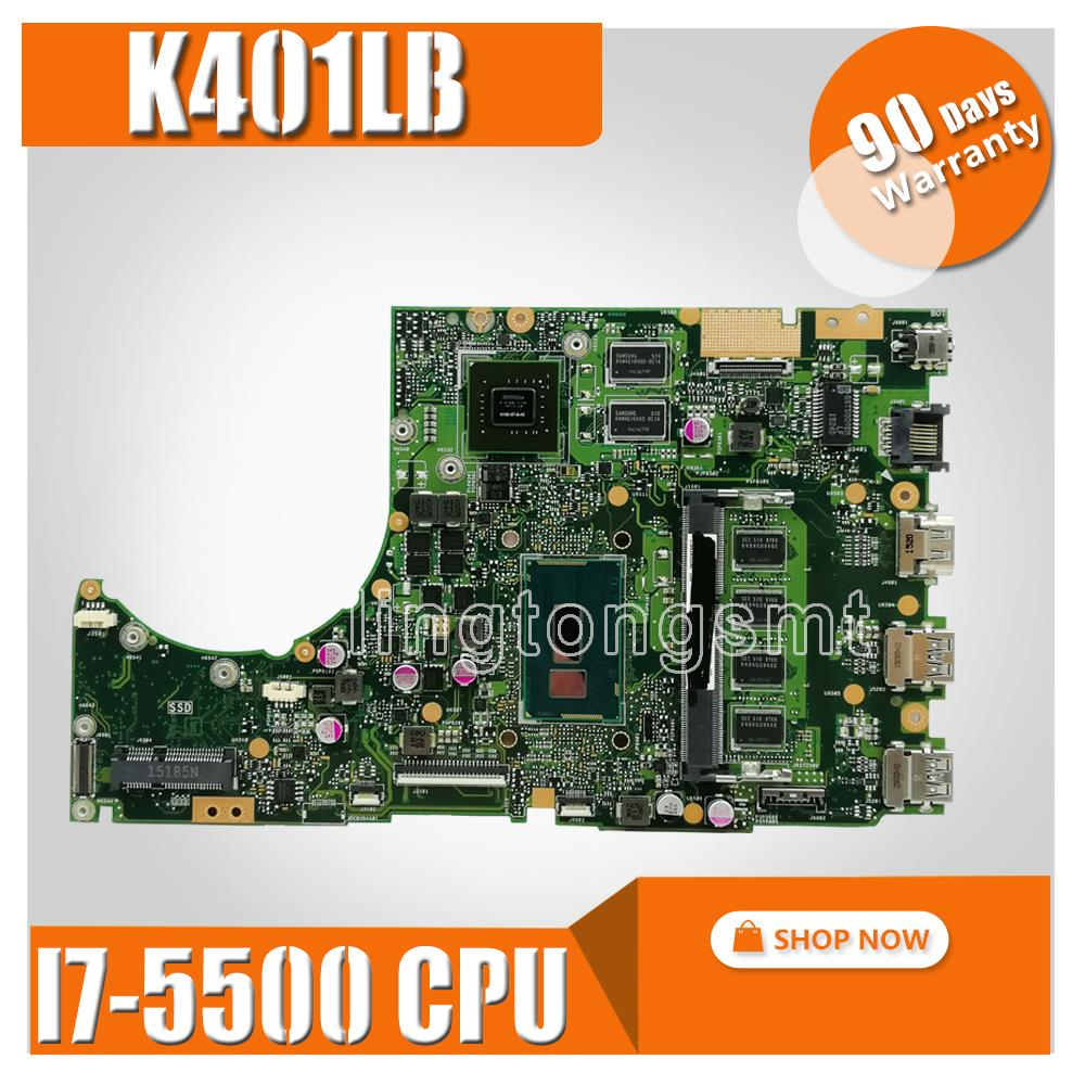 I7-5500CPU K401LB con DDR3L 4GB RAM /GT940M/2G placa base REV2.0 para For Asus K401L K401LB placa base portátil probado