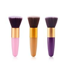 Utile débutant plat Top tampon fond de teint poudre brosse cosmétique maquillage outil de base poignée en plastique