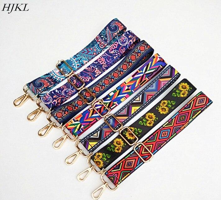 HJKL, correa de nailon de colores, accesorios de correa para mujer, percha de hombro ajustable arcoíris, correas de bolso, bolso de cadena decorativo