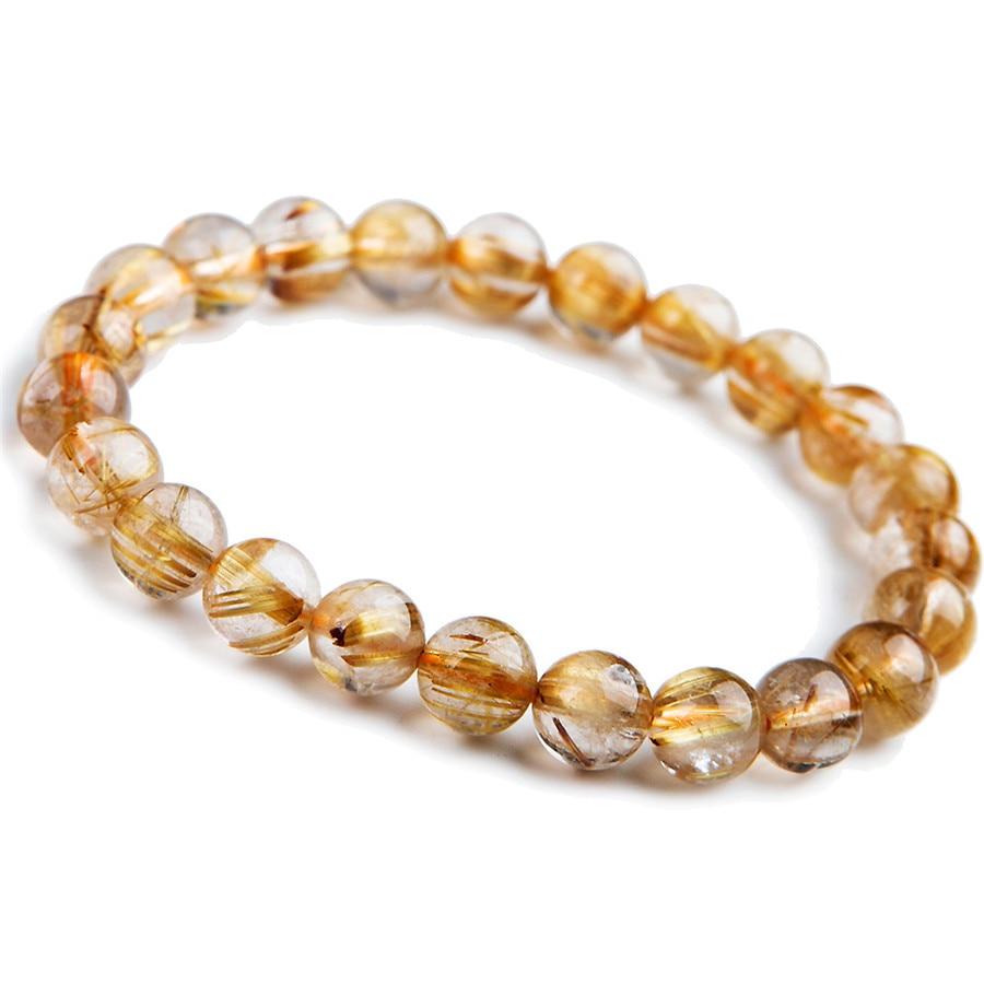 8mm Natural Gold Titanium Rutilated Quartz Crystal Bracelets For Women Femme Charm Stretch Clear Round Bead Bracelet AAA