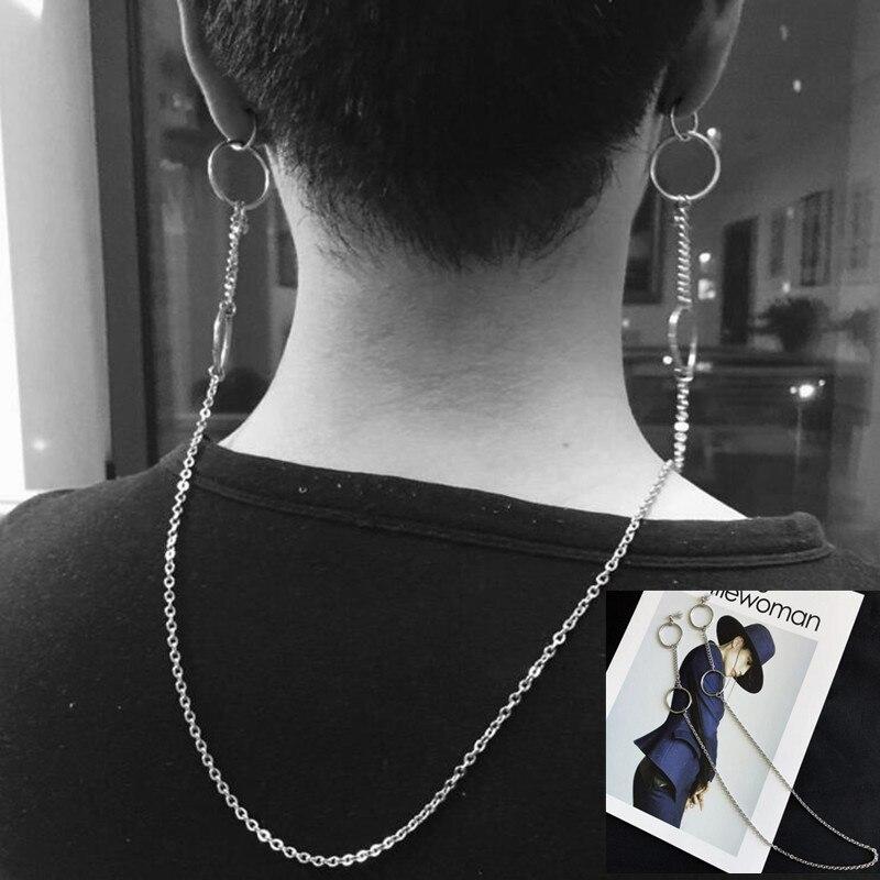K-pop coreano Bangtan pendientes para niños álbum V DNA doble orificio de oreja cadena larga delantera y trasera colgar pendientes de hombre mujeres