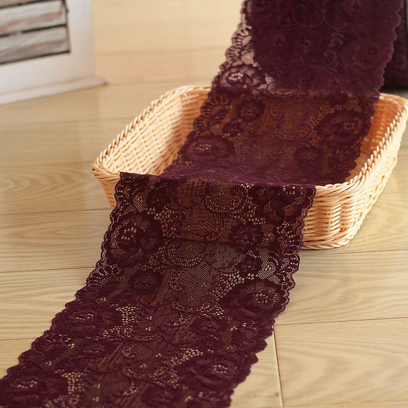 17 cm breite 2 yds/lot, Deep purple Handmade Haarschmuck Breite Elastische Stretch Spitzenbesatz hochzeit kleid rock spitzenbesatz