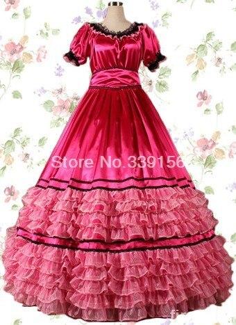 Red Satin Cotton Attractive Gothic Victorian Lolita Dresses Marie Antoinette Long Novelty Cake Dresses Custom
