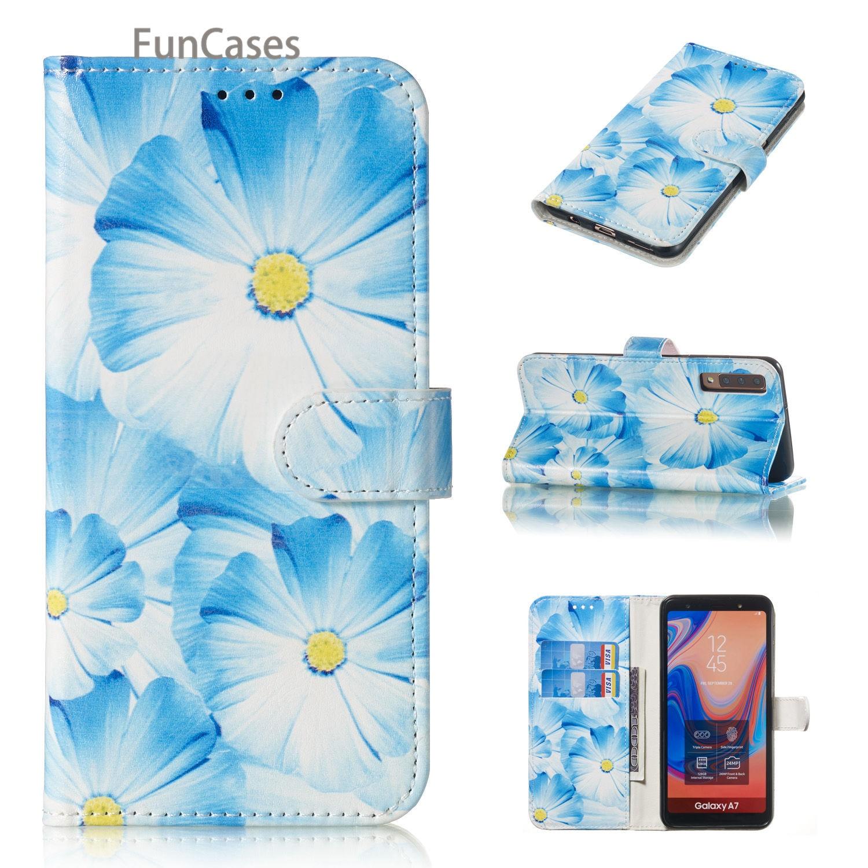Funda tipo billetera de cuero PU con diseño de orquídea para Samsung...