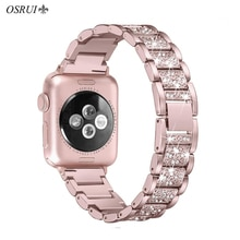 OSRUI For Apple Watch band 40mm 44mm 38mm 42mm women Diamond Band for Apple Watch 4 3 2 1 iWatch bracelet stainless steel strap
