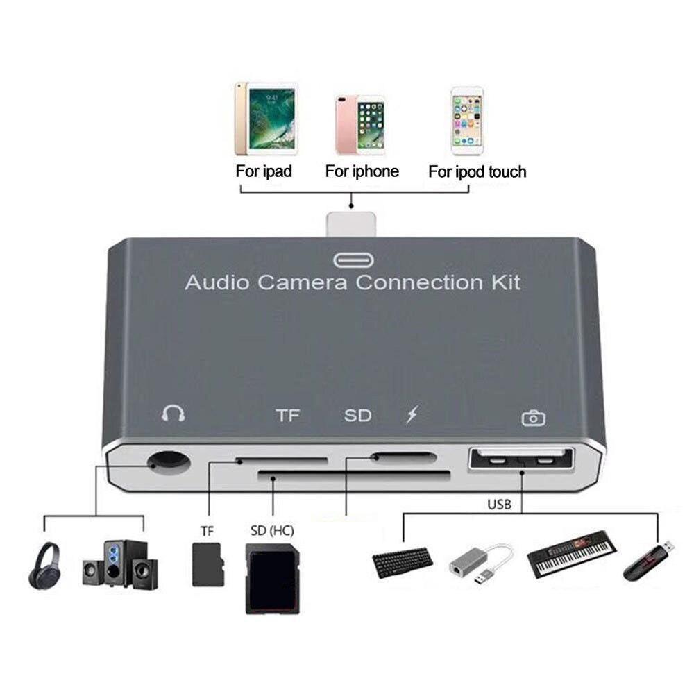 Kit de conexión de cámara de Audio 5 en 1 para iPhone/iPad/iPod Touch para iphone 7 8 X XS