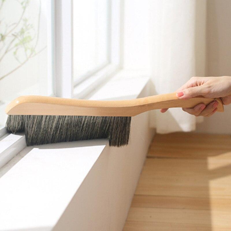 Escova de limpeza de pó doméstico prático punho de madeira escova de limpeza multi-funcional carro espanador janela ferramentas de limpeza