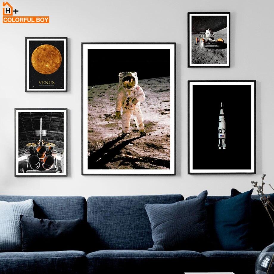 Cuadro sobre lienzo para pared Discovery Space Moonwalk cohete de astronauta carteles nórdicos e impresiones cuadros de pared para decoración para sala de estar