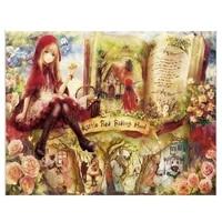 Peinture en diamant theme livre de fille  image de strass 5D  point de croix  broderie en diamant  doux decor de maison