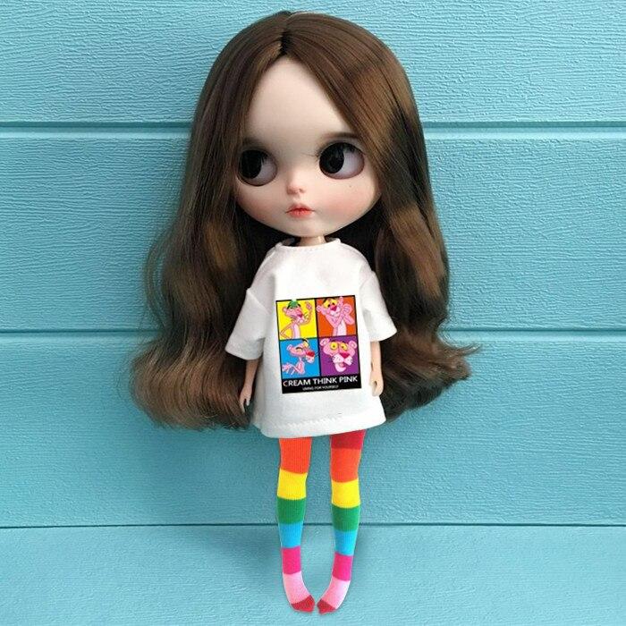 1/6 ropa de muñeca de moda accesorios de muñeca blyth camiseta de cartón de moda + media arcoíris para blyth ropa muñeca Pullip para barbi