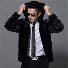 S-5xl New Winter Black Fashion Longhaired Faux Fur Coat Mink Hair Faux Fur Turn-down Collar Coats Men Hoodie Zippe Fur Jacket