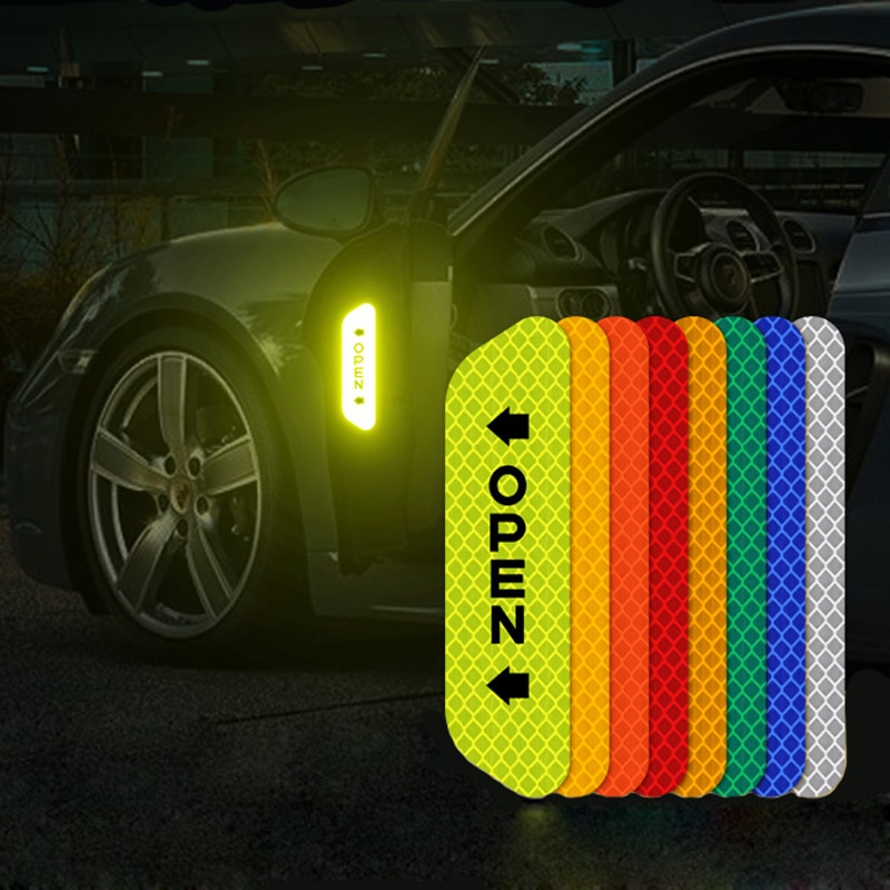 4Pcs Car Reflective Tape Warning Mark sticker Accessories Exterior For Chevrolet Cruze OPEL MOKKA ASTRA J Hyundai Solaris Accent