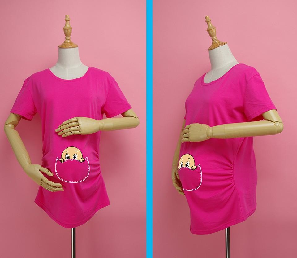 """""""Kieszonkowy dziecko siusiu boo"""" drukuj koszula ciążowa gravida top ciąży odzież tanie Tees Casual plus rozmiar XXL Darmowa wysyłka 4"""
