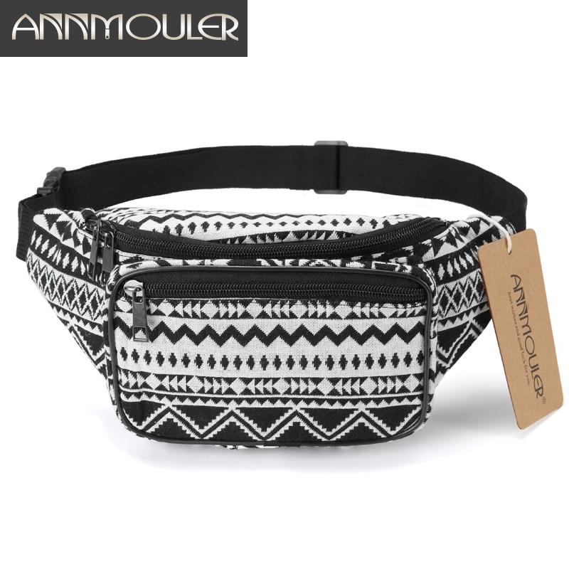 Поясная Сумка Annmouler, Женская поясная сумка из ткани с двойной молнией, нагрудная сумка в богемном стиле, сумка для телефона
