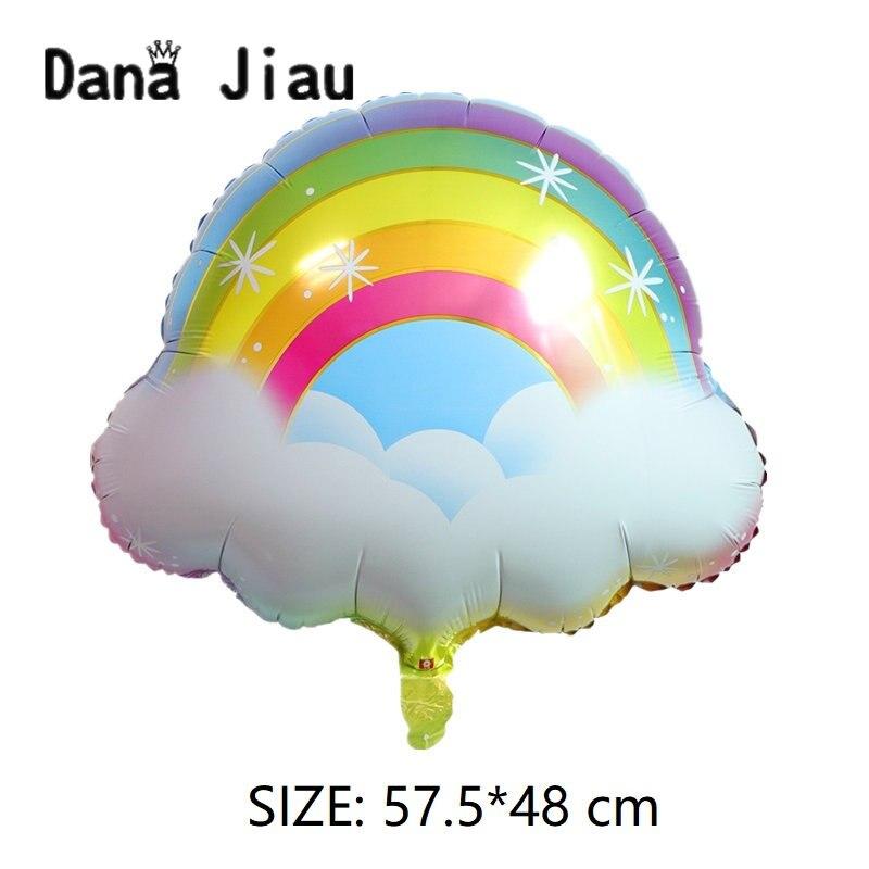 Danajiau Arco Iris nube unicornio lámina Ballon cumpleaños fiesta boda accesorios copo de nieve decoración helio globos sol juguete