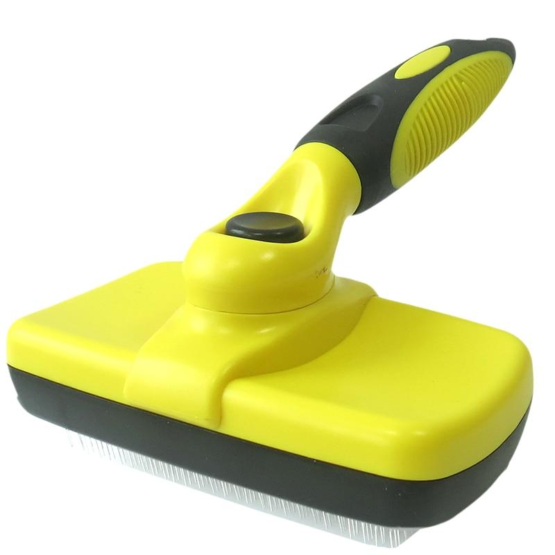 Cepillo para eliminar el pelo de mascotas profesional peine para perros cepillo de aseo para gatos aguja de acero inoxidable de limpieza automática cepillo para perros y Mascotas