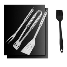 Ensemble daccessoires de Barbecue   Pince/fourchette/spatule en métal et en acier inoxydable pour Barbecue 2 pièces tapis de gril 1 brosse à huile en Silicone Gadgets de Barbecue 3 pièces