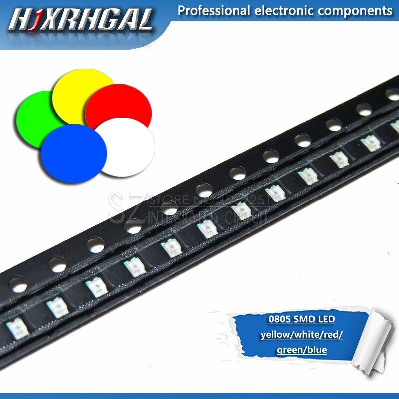 100 pièces 0805 SMD LED diodes lumière jaune rouge vert bleu blanc nouveau et original hjxrhgal