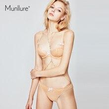 Munllure-ensemble de soutien-gorge sexy à nœud en coton, sous-vêtements supérieurs ultra-fins pour femmes