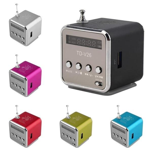 REDAMIGO-minialtavoz portátil TD-V26 aluminio, radio FM, SD, TF, USB, RU632