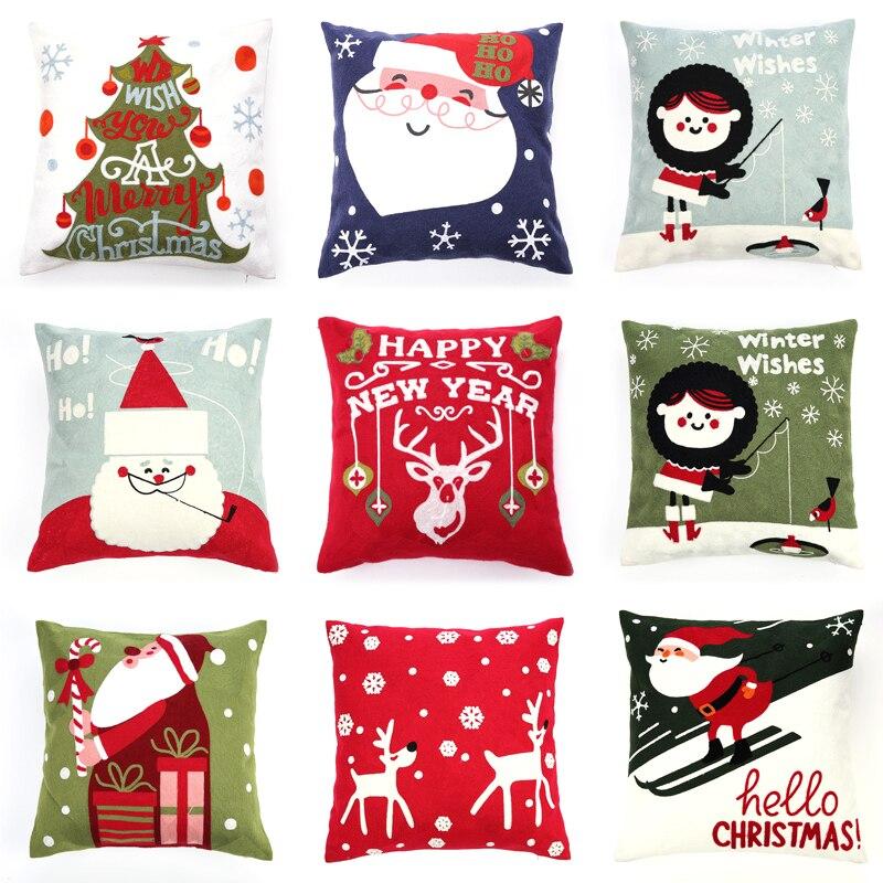 Bordado navideño cojines decorativos para sofá almohada decorativa funda de cojín casa coche Ornamental funda de almohada coussin