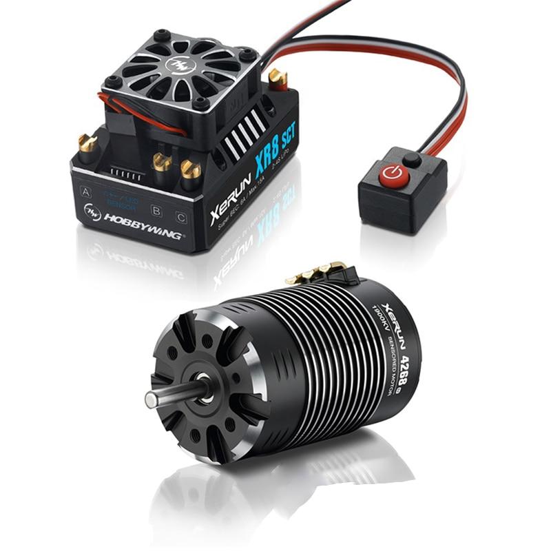 FATJAY HobbyWing XeRun 4268 SD G2 sensored brushless 4-pole motor with XeRun XR8 SCT 140A brushless sensored ESC combo for cars