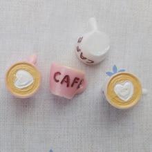 10pcs/lot new hote sell solid coffee mugs 12mm cappuccino resin mixed kawaii cabochons DIY christmas decorations