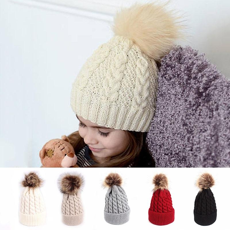 ¡Invierno 2018! ¡Nuevo! sombrero de invierno para bebé, ropa de invierno para niña, gorro tejido con Pompón, gorro para niños, gorro para niños pequeños