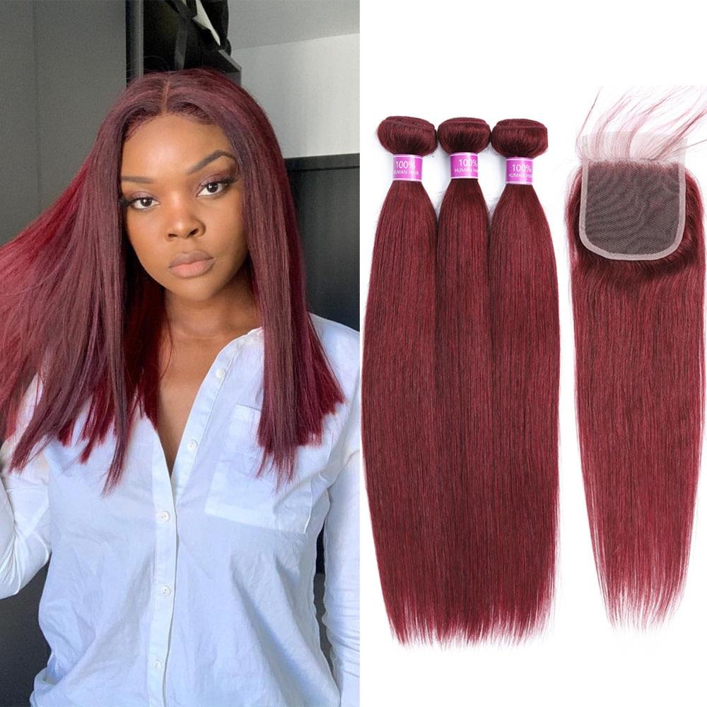 وصلات شعر برازيلية طبيعية ، وصلات شعر ناعمة ، نسج نبيذ أحمر 99J ، 10-24 بوصة ، بورجوندي ، مع إغلاق