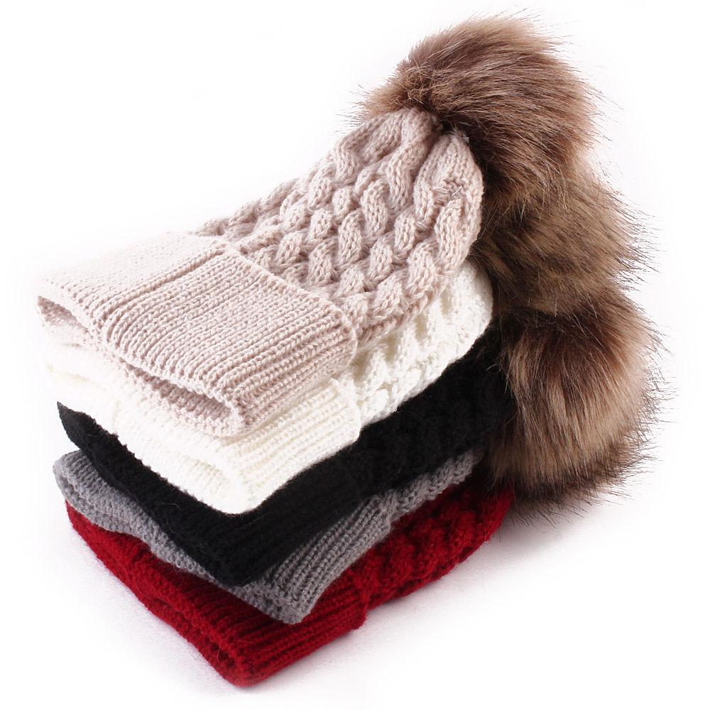 Gorro de invierno Crema para bebé niña y niño con pompón de piel de mapache, sombrero de lana para niños