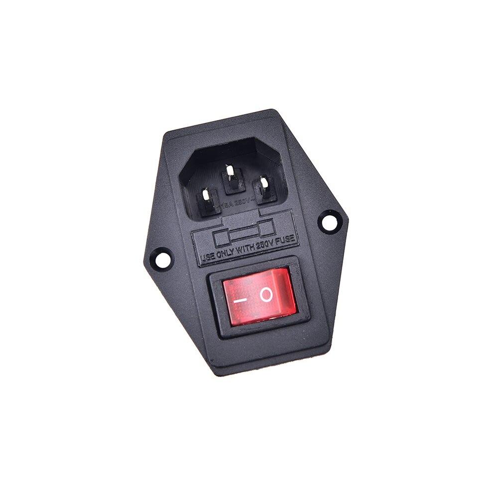 1pc io switch com fusível 3 pinos iec320 c14 plug on/off interruptor tomada com plugue fêmea para a máquina de arcada do cabo da fonte de alimentação