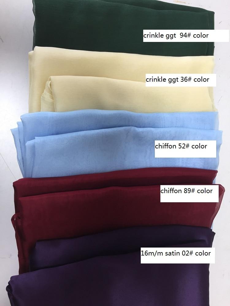 Howmay 100% pure silk fabric remnant mixed for women's dress lining and DIY handmade silk chiffon organza pongee satin
