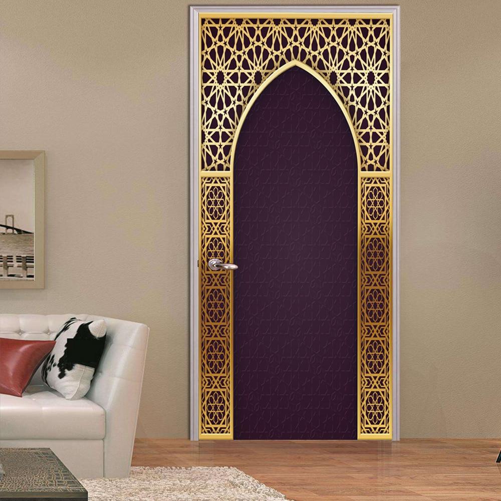 Autocollant de porte en 3D créatif   Nouveau Style arabe, 2 pièces/ensemble, Stickers muraux pour chambre à coucher salon couloir, décoration de porte de maison