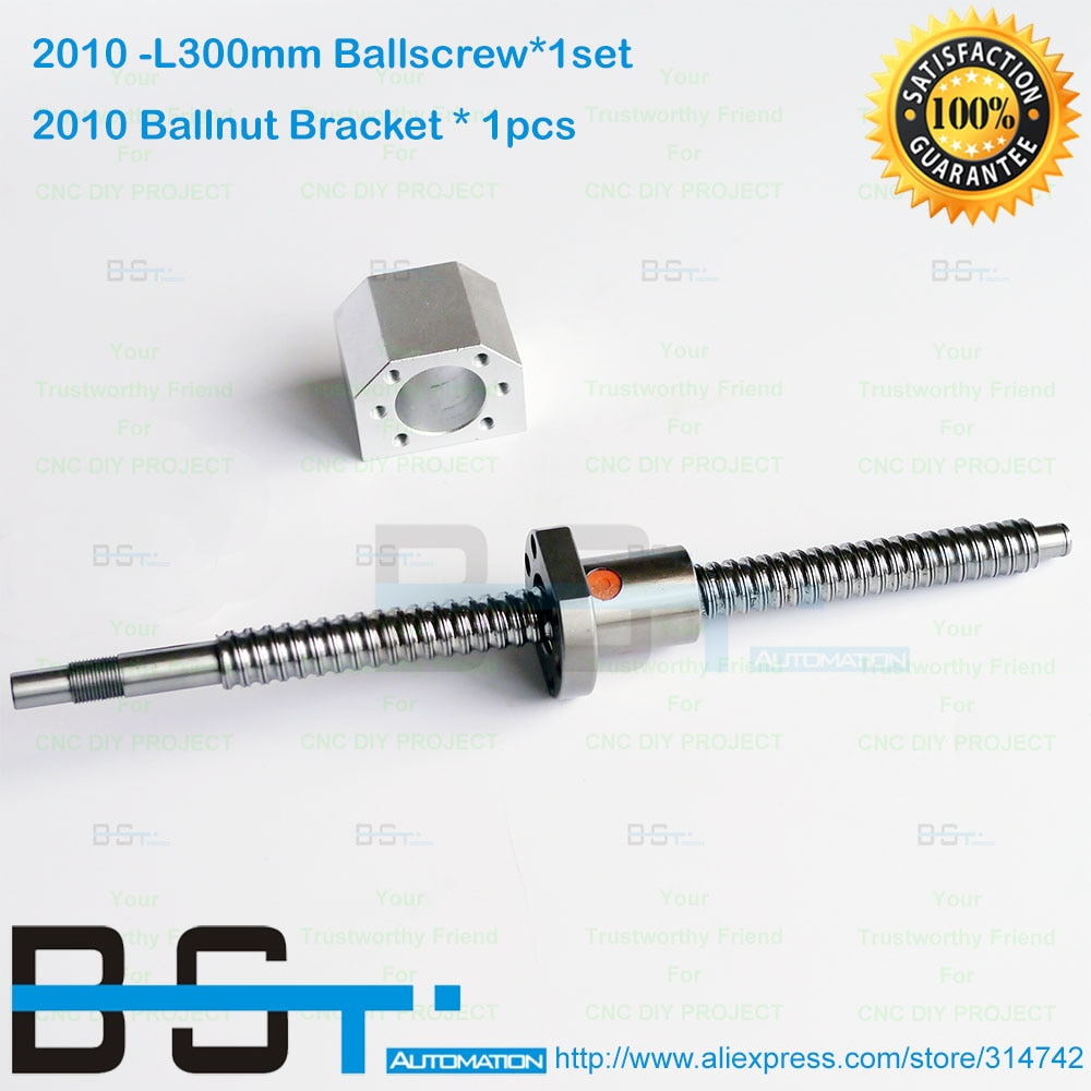 1 conjunto de 300mm com Ballnut SFU2010 ballscrew L + 2010 porca bola porca Bracket habitação Titular