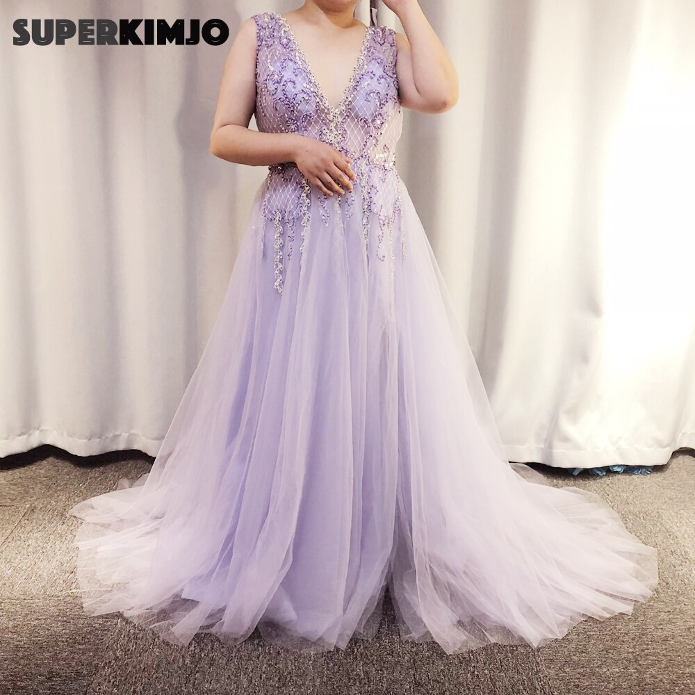 real picture prom dresses 2019 crystal beaded sequins a line side slit sleeveless tulle floor length evening gowns