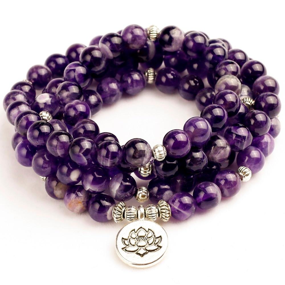 Женский браслет унисекс Mala, натуральный фиолетовый кварцс, энергетическая Йога, Mala Lotus 108, браслет Будда из бусин, камень, украшения