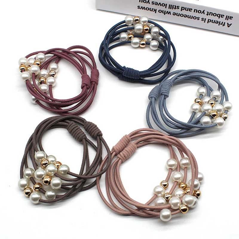10 teile/los Frauen Haar Zubehör Perlen Stirnbänder Pferdeschwanz Halter Mädchen gum für haarband Elastische Haar Bands Gummi Seil