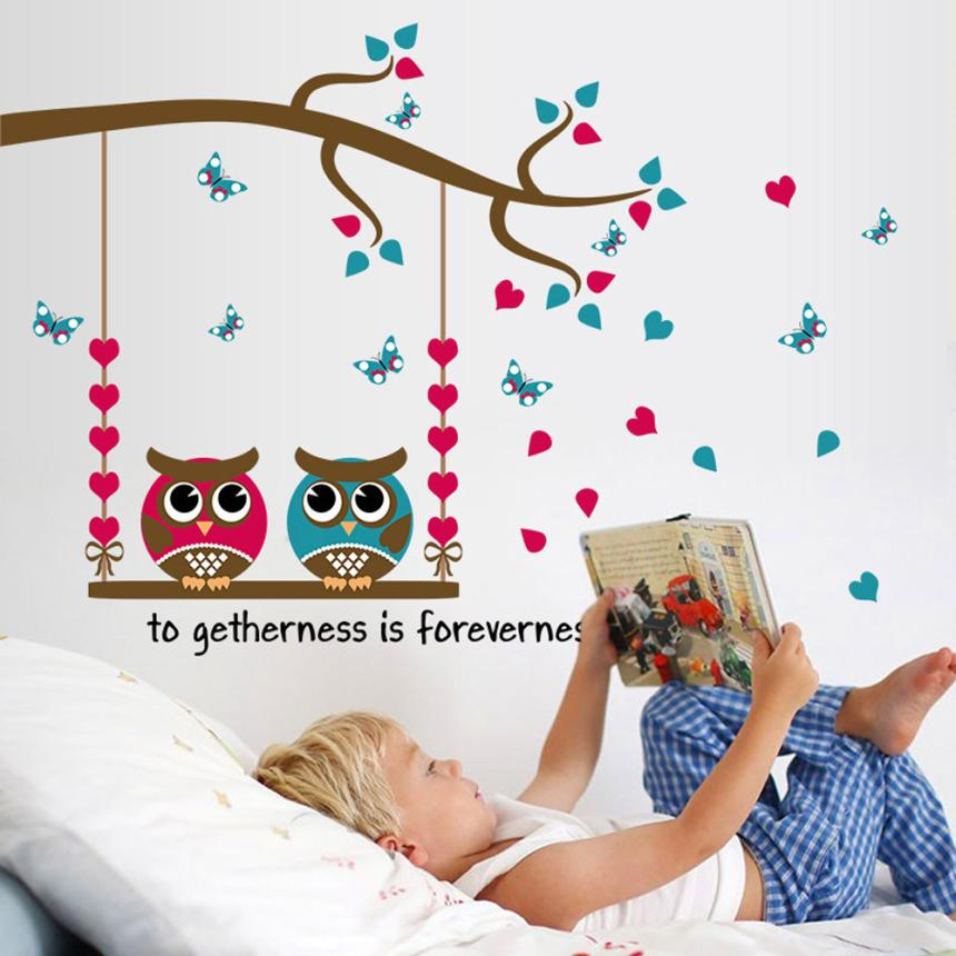 Pegatina de pared de dibujos animados búho pájaros rama extraíble niños decoración Mural pegatinas calcomanías 4,27