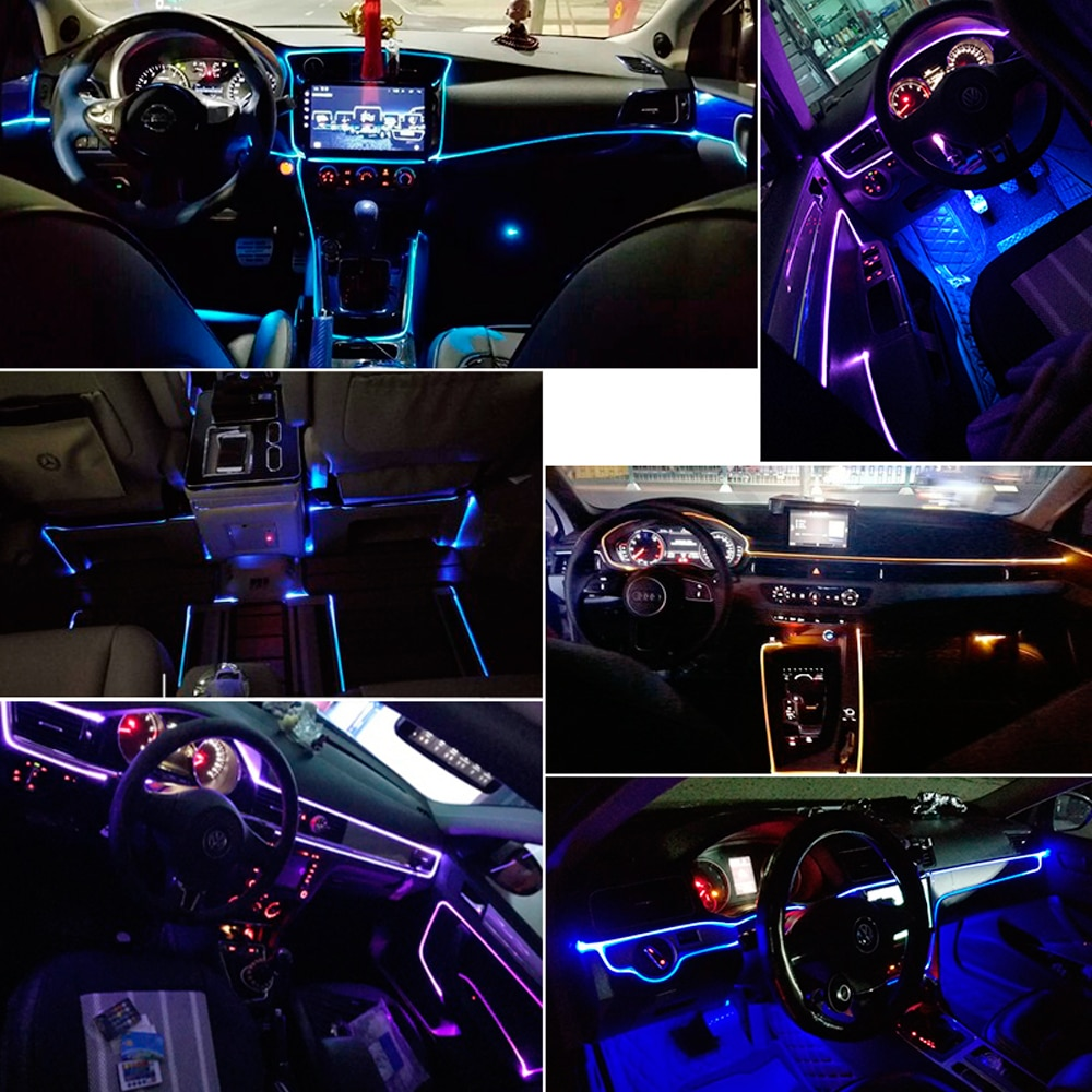 Ambient Lights LED Atmosphere Lamp RGB 8 colors For Car Tuning Interior Music Sound Light Car Decoration Refit Optic Fiber Band