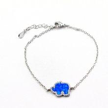 WALERV Fashion Cute Elephant Shape Real Blue Fire Opal Charm Hand Chain Women  Bracelets Banglee Link Chain