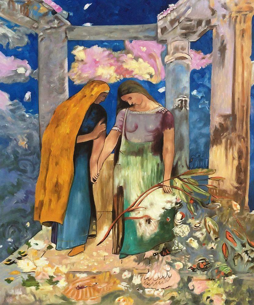 Pintura de pared figurativa famosa, conversación mística, 1896 de Odilon Redon, decoración del hogar, pintura al óleo pintada a mano