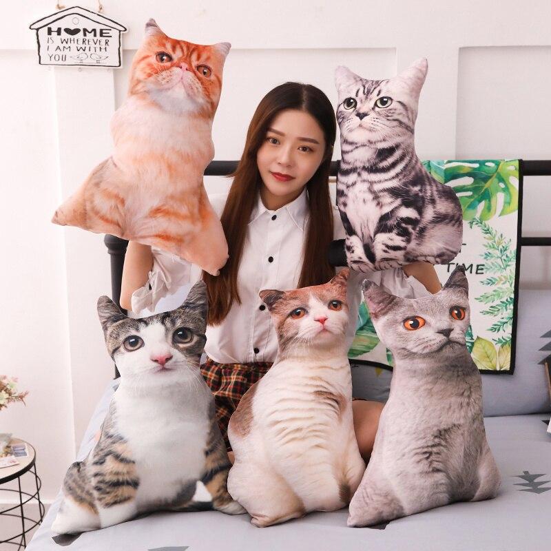 Babiqu 1pc 55cm real vida pelúcia gato travesseiros macio animais de pelúcia almofada sofá decoração dos desenhos animados brinquedos de pelúcia para crianças crianças presente