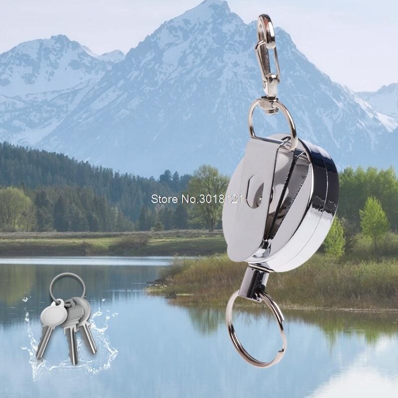 Fishing Zinger Retractor Key Ring Reel Holder Retractable Steel Cable Full Metal    ROU_1008
