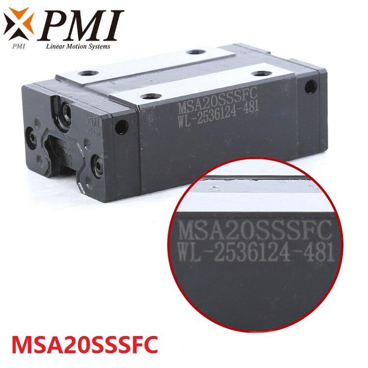 4 piezas Original Taiwán PMI MSA20S MSA20SSSFC N Carro de bloque de deslizamiento de guía lineal para máquina láser CO2 enrutador CNC MSA20S-N