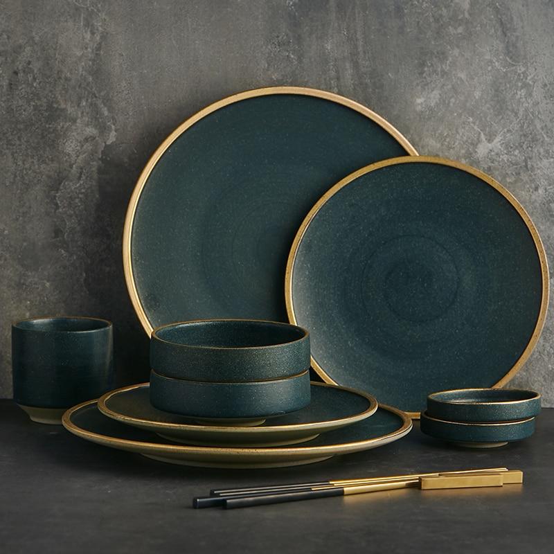 KINGLANG-أدوات مائدة سيراميك ، أدوات مائدة لـ 2/4 شخصًا ، أدوات مائدة عائلية يقدم المطعم ، أطباق غربية ، أوعية